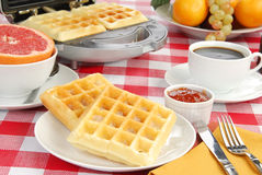 Waffles with strawberry jam Stock Photography