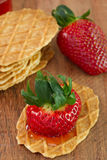 Waffles with strawberry Royalty Free Stock Image