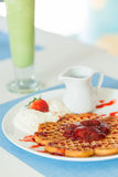 Waffles with Strawberry jam Stock Photo