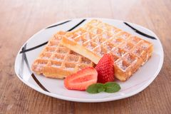 Waffles and strawberry Royalty Free Stock Photography