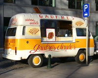 Waffles street vendor van in Brussels Royalty Free Stock Photos