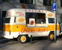 Waffles street vendor van in Brussels Royalty Free Stock Photos
