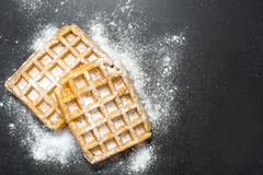 Waffles with sugar Stock Image
