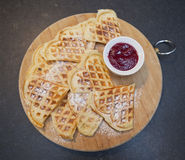 Waffles with sugar flour Stock Photography