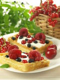 Waffles with summer fruits. Appetizing waffles with whipped cream and fruits Royalty Free Stock Photo