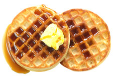 Waffles with Syrup Isolated. On white background with clipping path stock image