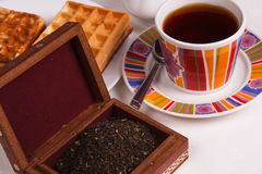 Waffles and tea Stock Photography