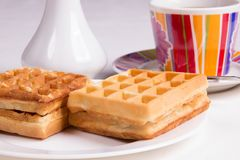 Waffles and tea Royalty Free Stock Image