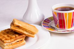 Waffles and tea Royalty Free Stock Photos