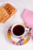 Waffles and tea Royalty Free Stock Images