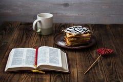 Waffles and tea stock photos
