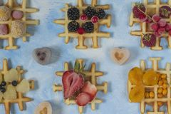 Waffles. Top view of waffles decorated with berries Stock Photo