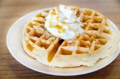 Waffles under the caramel topping Stock Photos