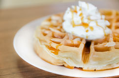 Waffles under the caramel topping Stock Photo
