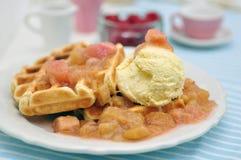 Waffles with Vanilla Ice Cream Royalty Free Stock Photography