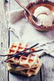 Waffles with vanilla and ice cream Royalty Free Stock Image