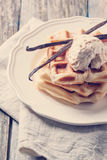 Waffles with vanilla and ice cream Stock Photography