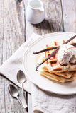 Waffles with vanilla and ice cream Stock Image