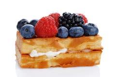 Waffles vienenses com mirtilos frescos, amoras-pretas foto de stock royalty free