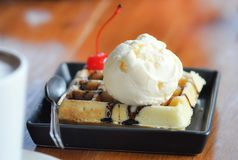 Waffles. Waffle and ice cream recipe on the table Stock Photos