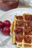 Waffles. With jam from a plum on a white plate Stock Photography