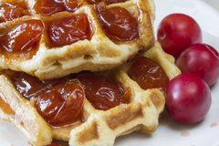 Waffles. With jam from a plum on a white plate Royalty Free Stock Photo