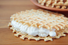 Waffles with whipped cream Stock Image