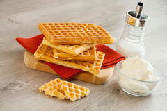 Waffles with whipped cream Stock Photography