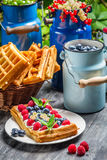 Waffles with whipped cream and fruit Royalty Free Stock Photo