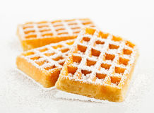 Waffles on a white background. Sugared waffles  on a white background Stock Images