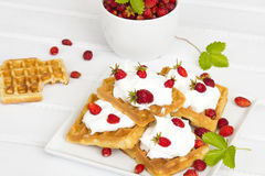 Waffles with wild strawberries Stock Images