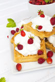 Waffles with wild strawberries and whipped cream Stock Image