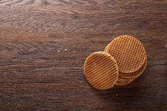 Waffles With Caramel On Wood Royalty Free Stock Images