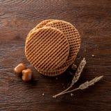 Waffles With Caramel On Wood Stock Image