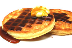 Waffles With Syrup And Butter Royalty Free Stock Photography