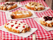 Waffles with yogurt and berries Stock Photo