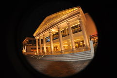 Wafi mall in Dubai. Night scene of neoclassic architecture at the entrance to the Wafi mall in Dubai, beautiful lighting enhancing the classical decorative Royalty Free Stock Photos