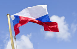 Wafting russian flag. Before blue sky Stock Photography