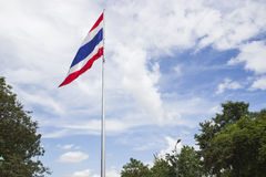 Wafting Thailand flag. Thailand flag on flagstaff is wafting along with the wind Royalty Free Stock Photo