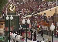 Waga border, India-Pakistan. Guard changing cerimony at Waga border between Pakistan and India royalty free stock images