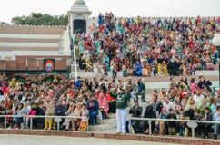 Wagah Pakistan India Border Ceremony, Lahore, Pakistan. People watching Pakistan-India Border Closing Ceremony in Lahore, Punjab, Pakistan stock photography