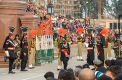 Wagah Pakistan India Border Ceremony, Lahore, Pakistan. Security Officers Performing in Pakistan-India Border Closing Ceremony in Lahore, Punjab, Pakistan royalty free stock photos