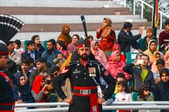 Wagah Pakistan India Border Ceremony, Lahore, Pakistan. Security Officials performing in Pakistan-India Border Closing Ceremony in Lahore, Punjab, Pakistan royalty free stock photos