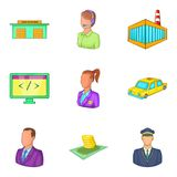 Wage-earner icons set, cartoon style Stock Image