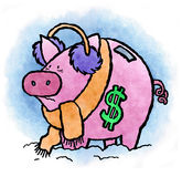 Wage Freeze. A wage freeze can sure give your piggy bank a bad chill Stock Image