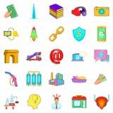 Wage icons set, cartoon style Stock Photos