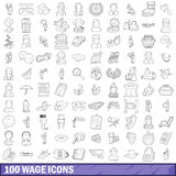 100 wage icons set, outline style. 100 wage icons set in outline style for any design vector illustration Stock Image