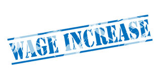 Wage increase blue stamp Royalty Free Stock Photos