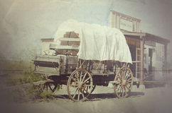 Wagen en cowboystads algemene opslag Stock Fotografie