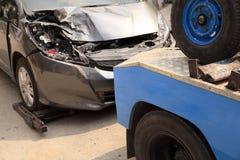 Wagen, Gabelstapler Autounfall Stockfoto